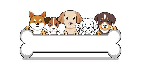 Vector cartoon cute dogs with big bone for design.