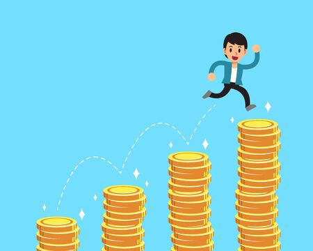 Vector cartoon character businessman jumping over money stacks for design. Vettoriali