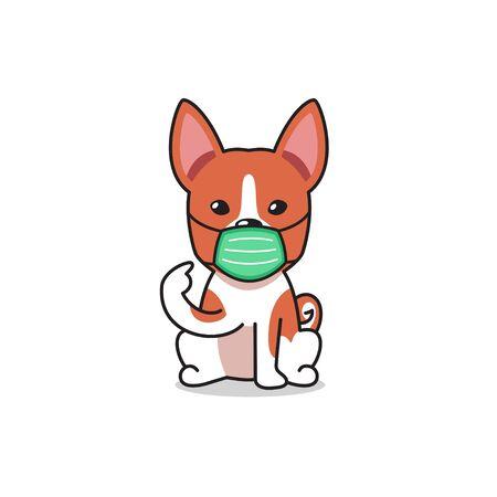 Cartoon character basenji dog wearing protective face mask for design. Illusztráció
