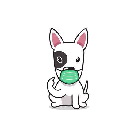 Cartoon character bull terrier dog wearing protective face mask for design. Illusztráció