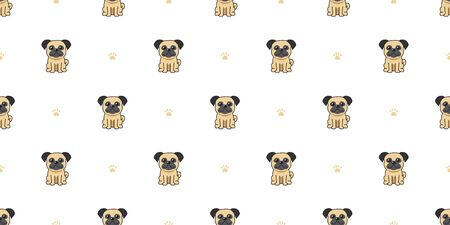 Cartoon character pug dog seamless pattern background for design.