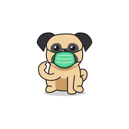 Cartoon character pug dog wearing protective face mask for design.