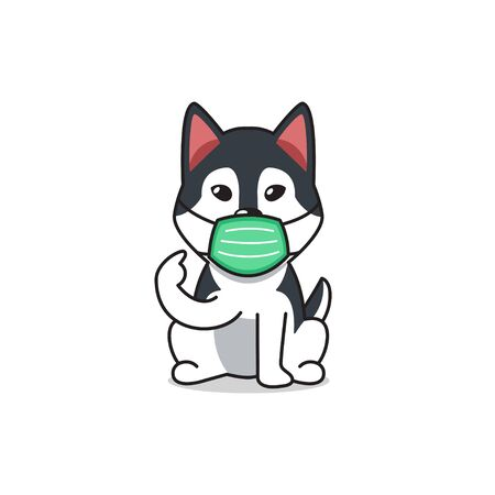 Cartoon character siberian husky dog wearing protective face mask for design.