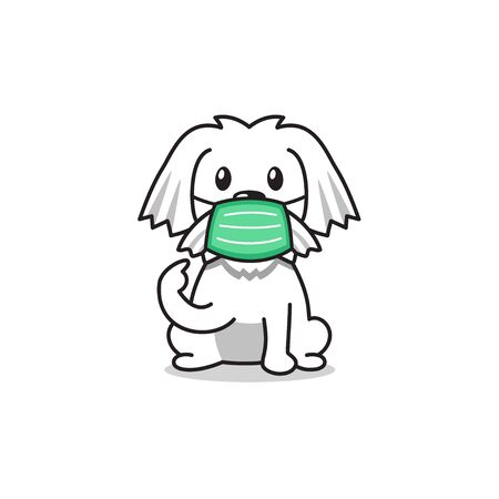 Cartoon character white dog wearing protective face mask for design.