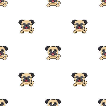 Vector cartoon character pug dog seamless pattern background for design. Illusztráció