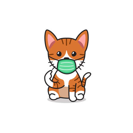 Cartoon character orange tabby cat wearing protective face mask for design.