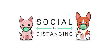 Covid-19 protection concept cartoon cat and dog wearing protective face mask social distancing for design.
