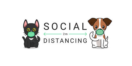 Covid-19 protection concept character cat and dog wearing protective face mask social distancing for design.