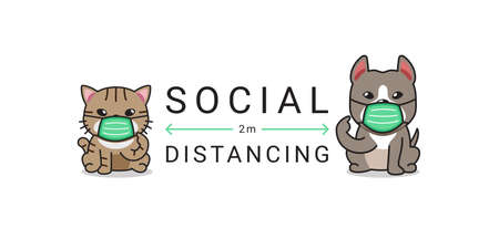 Covid-19 protection concept cartoon cute cat and dog wearing protective face mask social distancing for design.