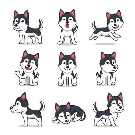 Cartoon character set of Siberian husky dog for design.