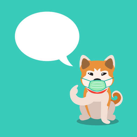 Cartoon character akita inu dog wearing protective face mask with speech bubble for design. Illustration