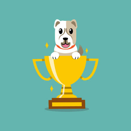 Cartoon character dog with gold trophy cup award for design. Illustration