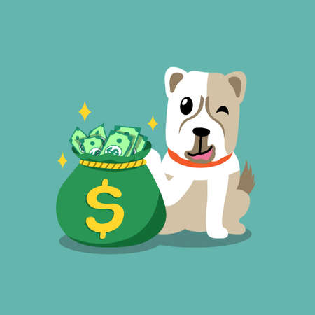 Vector cartoon character dog with money bag for design.
