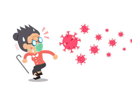 Vector cartoon senior woman wearing protective face mask worried about the virus for design.
