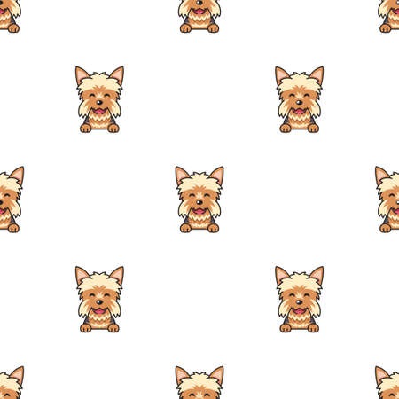 Vector cartoon character yorkshire terrier dog seamless pattern background for design.