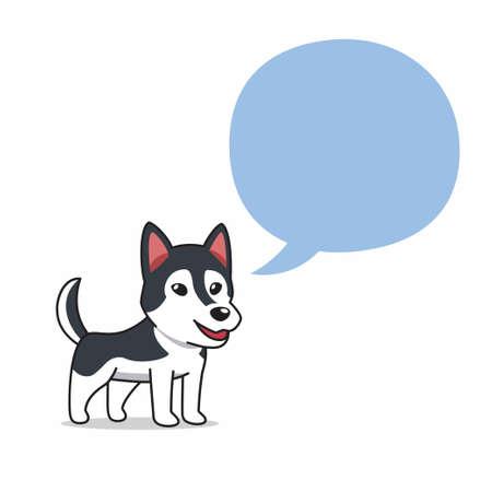 Cartoon character siberian husky dog with speech bubble for design.
