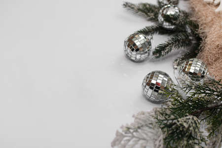 space for an inscription on a white background with christmas balls