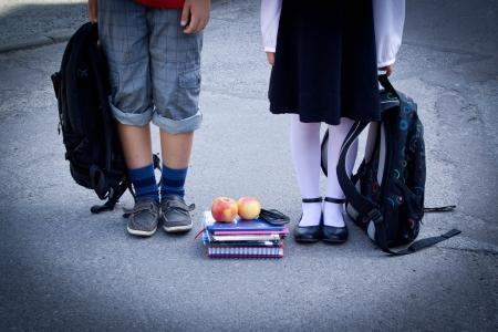 学校に戻る 写真素材