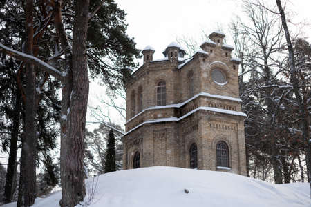 A romantic neo-Romanesque building with hexagonal floor plan. Rare historical sacral architecture. Family cemetry of a wealthy family from year 1874.