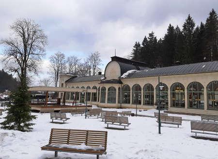 Colonnade in Janske Lazne, spa town, Czech Republic. 免版税图像