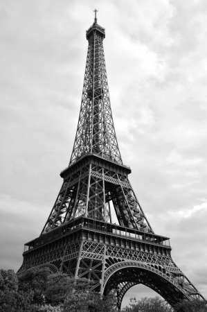 The Eiffel tower Paris BW Stock Photo