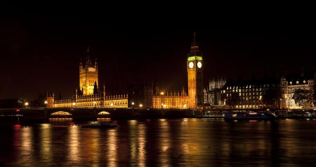 Westminster, London, at Night  Stock Photo