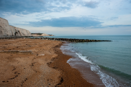 brighton falaises plage du Royaume-Uni eveningn la lumi�re Banque d'images