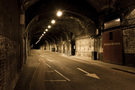 Westminster, London, at Night under bridge