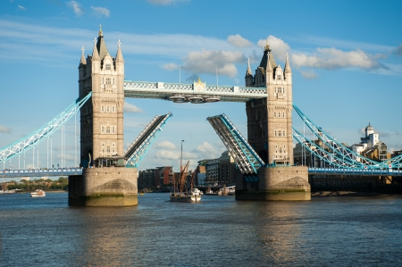 Tower Bridge open in London with Olimpic Ring , UK