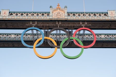 Olimpic Ring on Tower Bridge London , UK