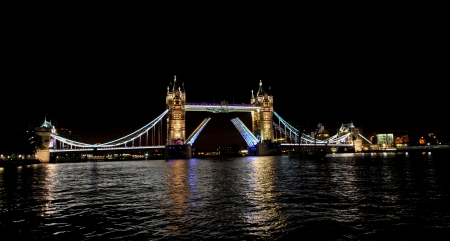 Tower Bridge night light open in London with Olimpic Ring , UK