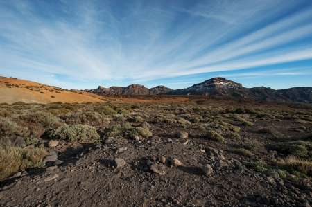 View volcanic desert, mountains in the Canary Islands