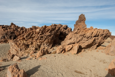 View red desert rock, mountains in the Canary Islands Stock Photo