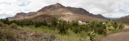 A beautiful mountain and forest palms scape panorama in Gran Canaria view mountains in canary Islands, Spain  Stock Photo