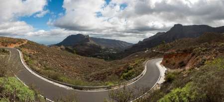A beautiful mountain, forest and road scape panorama in Gran Canaria view mountains in canary Islands, Spain