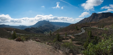 A beautiful mountain and forest scape panorama in Gran Canaria view mountains in canary Islands, Spain