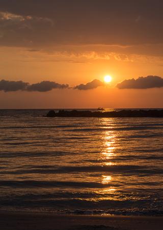 adriatico: Sunrise on the Adriatic sea in San Benedetto del Tronto, Italy Stock Photo