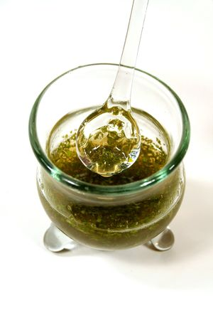 unprocessed: Bowl of of fresh home made mint sauce.