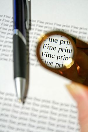 Always look for the fine print. Stock Photo - 651304