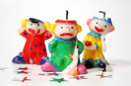 Clown candles with sore heads after the party. Stock Photo - 690256