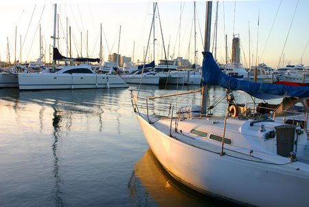 sultry: Yachts at the marina in the late afternoon light. Stock Photo