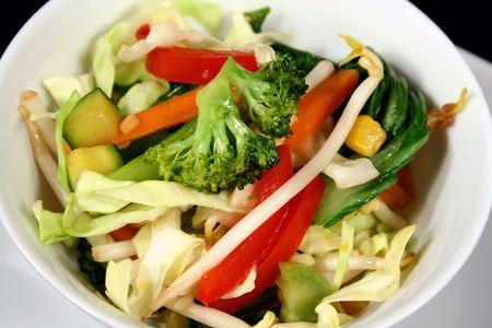 scrumptious: Delicious Asian stir fry vegetables ready to serve. Stock Photo