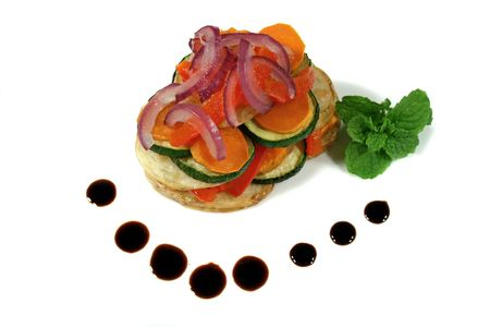 sustenance: Piping hot roasted vegetable stack with balsamic dressing.