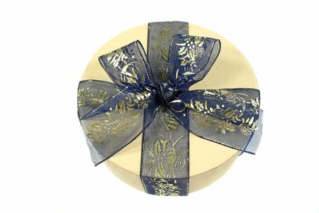 wrapped present: Blue and gold gift wrapped present.