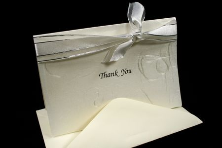 dearest: Silver embossed thank you card with bow.