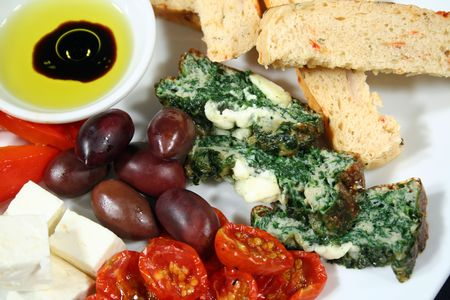 antipasto: Delicious Italian antipasto dish ready to serve.