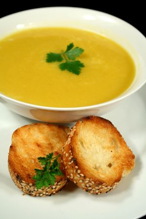 crusty: Piping hot pumpkin soup with garlic infused crusty bread.
