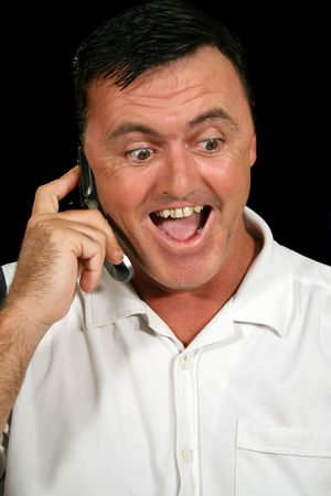 average guy: Surprised man on cell phone. Stock Photo