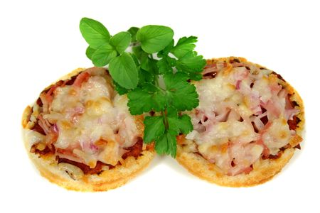 delectable: Homemade ham, cheese and onion pizza bites.