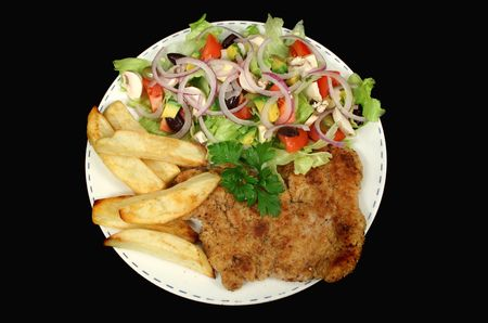 Hearty homemade chicken schnitzel with chips and salad. Stock Photo - 890216